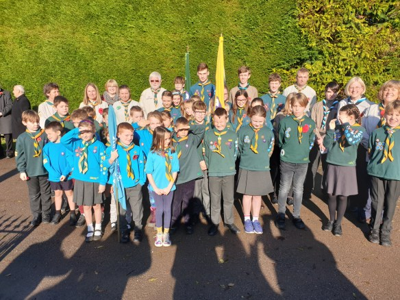 Beavers, Cubs and Scouts from Barton Scout group at the Remembrance Service Lydford 10/11/2019