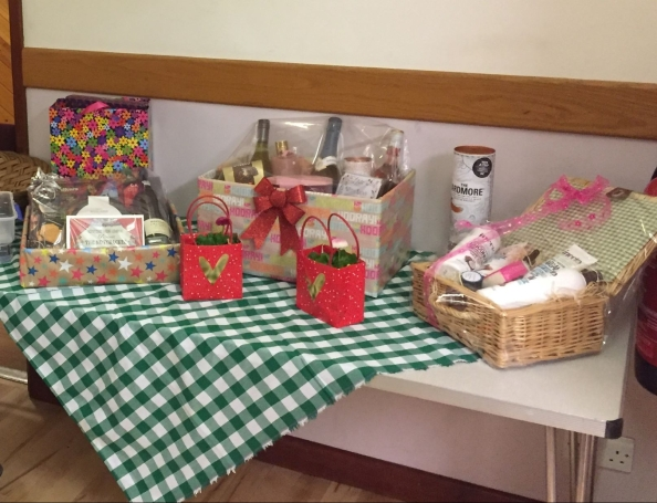 Prize table for the February 2020 Barn Dance